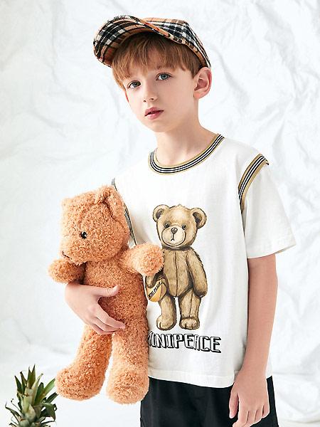 太平鸟童装童装品牌2021夏季中大童宽松小熊上衣