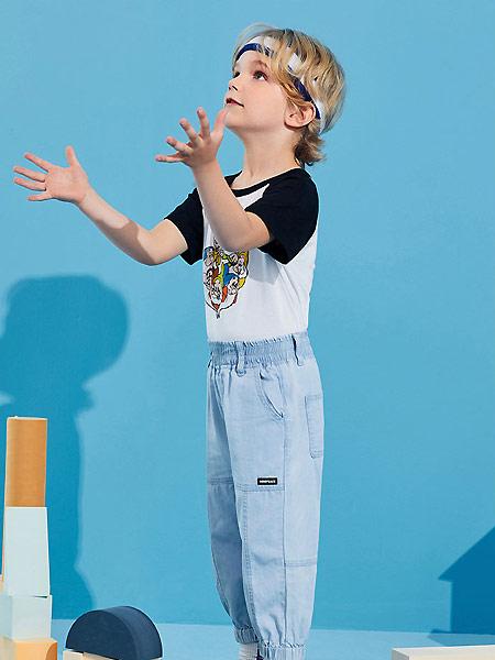 太平鸟童装童装品牌2021夏季薄款透气牛仔束腿裤潮