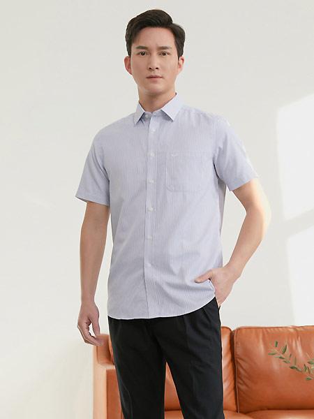 富绅男装品牌2021夏季透气衬衫男短袖条纹商务休闲寸衫男式舒适衬衣薄