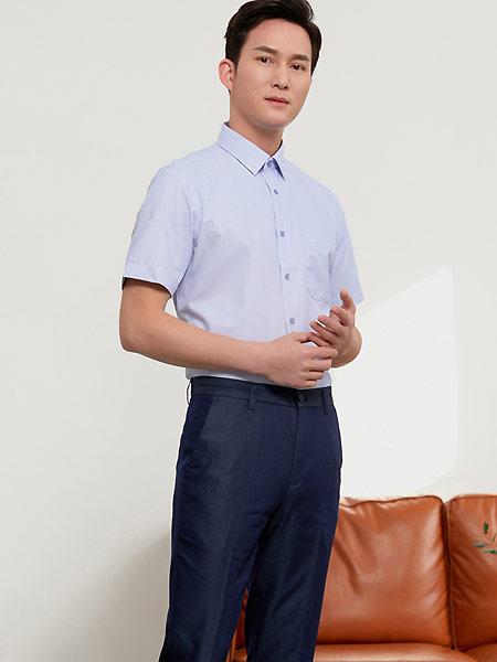 富绅男装品牌2021夏季莫代尔格子衬衫男短袖商务休闲青年衬衣提花