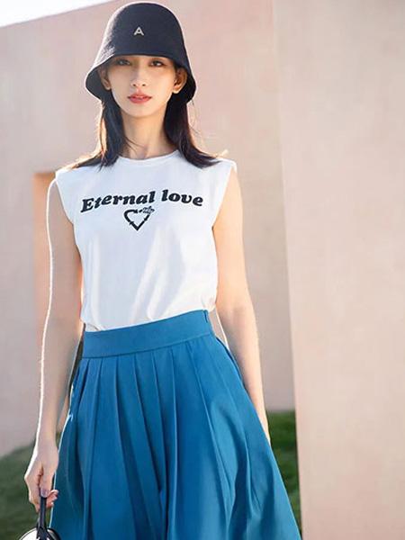 ANOTHER ONE女裝品牌2021夏季新款白色無袖半身裙百搭