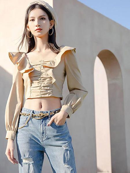 ANOTHER ONE女裝品牌2021夏季新款卡其上衣色露臍牛仔褲套裝