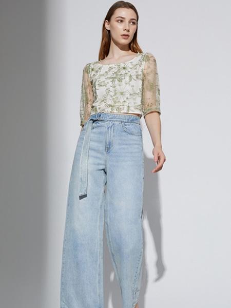 奧倫提女裝品牌2021夏季新款闊腿牛仔褲百搭