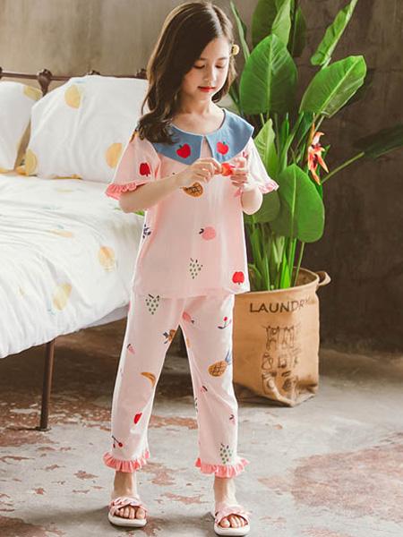 梦幻大道童装品牌2021夏季甜美纯棉长袖睡衣套装