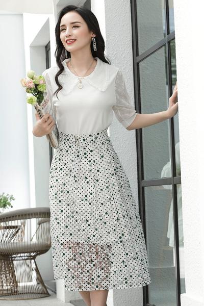 赫梵茜女�b品牌2021春夏新款波�c�n版高腰半身裙