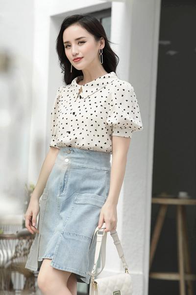 赫梵茜女裝品牌2021春夏印花襯衫女短袖寬松顯瘦