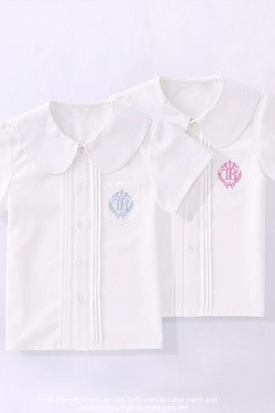 淘帝童裝品牌2021夏季海軍領制服短袖白襯衫春裝新款中大兒童小學生上衣學院風襯衣