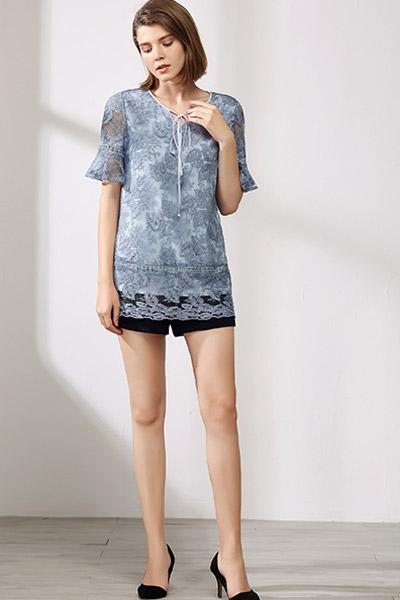 沐紫格女装品牌2021夏季蕾丝边T恤透清凉
