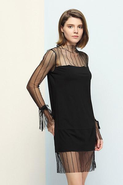 沐紫格女装品牌2021夏季心机性感黑色连衣裙