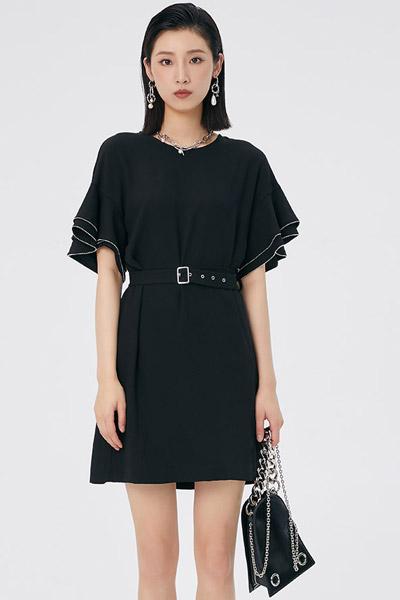 LOFT SHINE女裝品牌2021夏季新款黑色圓領喇叭袖收腰連衣裙