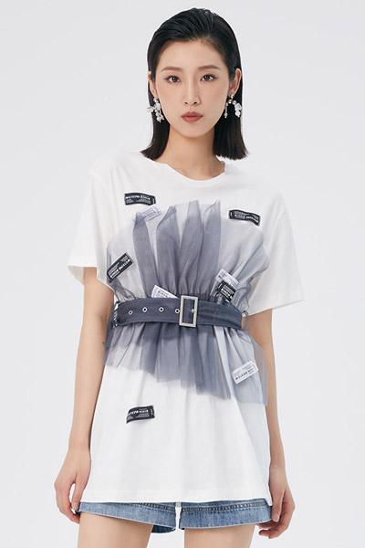 LOFT SHINE女裝品牌2021夏季夏女拼色單衣
