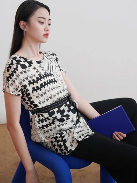 杰西女装品牌2021夏季黑白艺术短袖衬衣