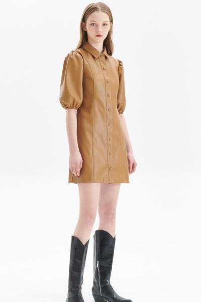 2021夏季新品�O�感泡泡袖PU皮短袖甜酷�B衣裙