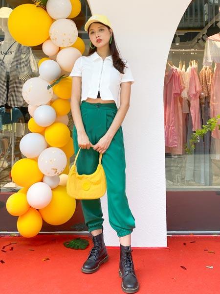 瑶丫头女装品牌2021夏季白色短衬衫高腰宽松阔腿裤