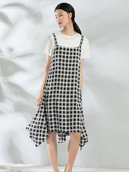 布伊轨道女装品牌2021夏季休闲格子吊带裙