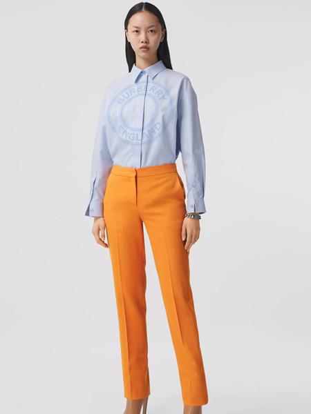 Burberry Prorsum博柏利-珀松女�b品牌2021春夏徽��D案棉�|��松牛津�r衫