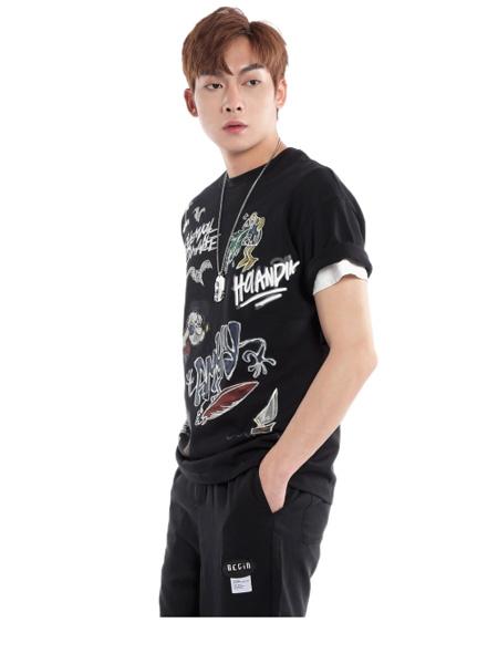 �戈�T男装品牌2021夏季个性印花T恤