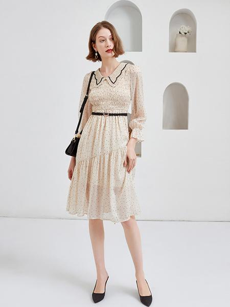 Feelfable感寓女装品牌2021春夏波点翻领衬衫裙子套装