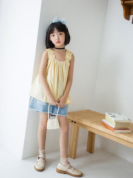 欧抱抱童装品牌2021夏季小清新无袖吊带背心