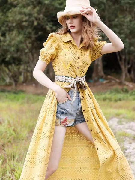 AttinaLife阿缇娜女装品牌2021夏季黄色波点长款透气外套