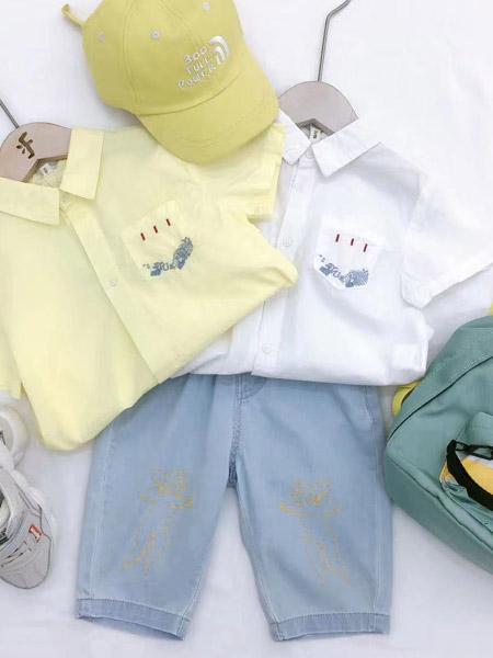 小嗨皮童装品牌2021夏季小清新衬衣短裤套装