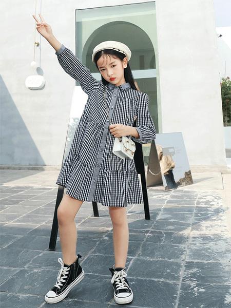 玛玛米雅童装品牌2021秋季韩版时尚翻领格子连衣裙