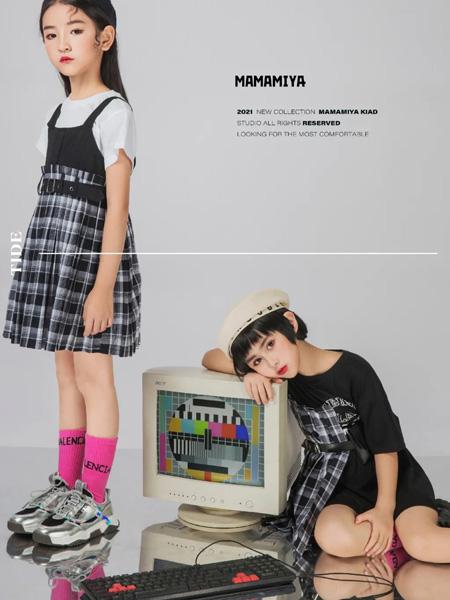 玛玛米雅童装品牌2021夏季纯棉T恤格子吊带裙套装