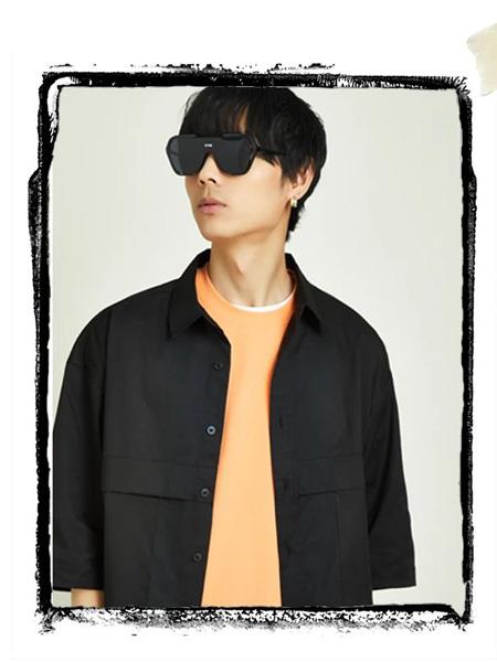 EC男装品牌2021夏季黑色翻领短袖衬衫