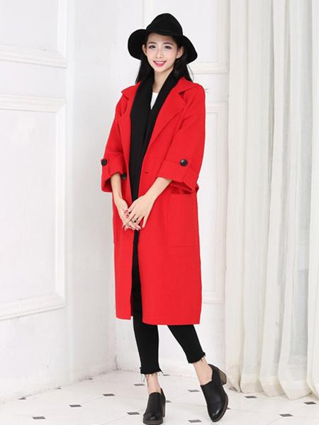 婉姿女装品牌2021秋季红色廓形外套