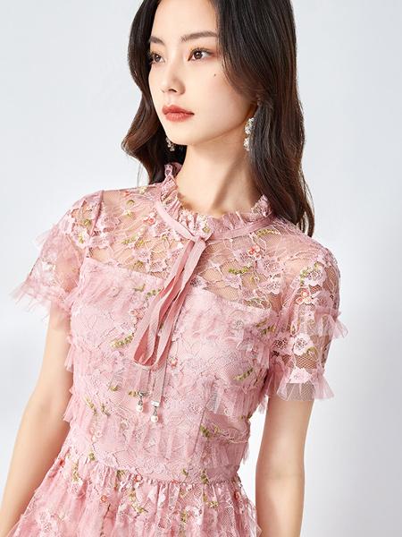 依妙女装品牌2021夏季新款气质轻熟法式可盐可甜网纱