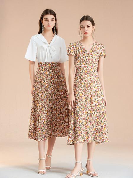 艾麗哲女裝品牌2021春夏白色蝴蝶結短袖襯衣套裝