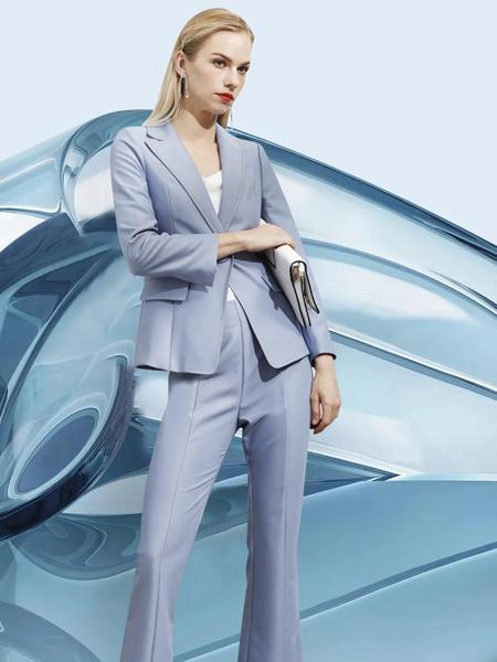 JAOBOO 乔帛女装品牌彩38平台2021秋季蓝色修身西装套装