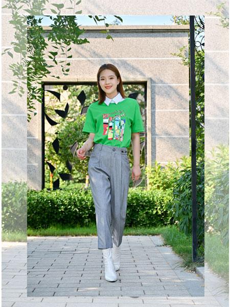 浩洋国际女装品牌2021夏季印画翻领T恤