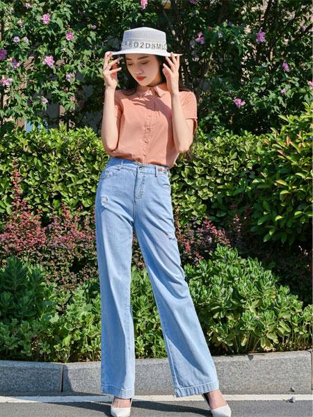 浩洋国际女装品牌2021夏季修身衬衣牛仔裤套装