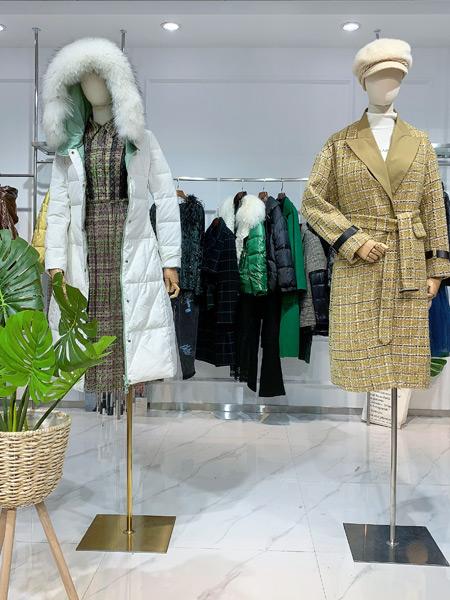 蓝帛湾女装品牌彩38平台2021秋季格子修身大衣外套