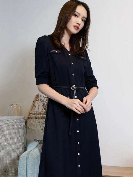 Aline阿莱女装品牌2021春夏新品显瘦气质优雅连衣裙