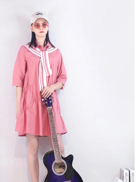 領卉女裝品牌2021秋季粉色俏皮半身連衣裙
