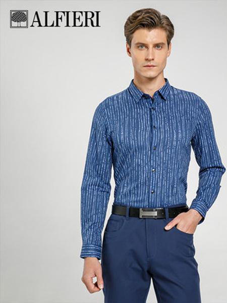 艾法利男装品牌2021春夏新品不规则条纹印染工艺修身男士长袖衬衫