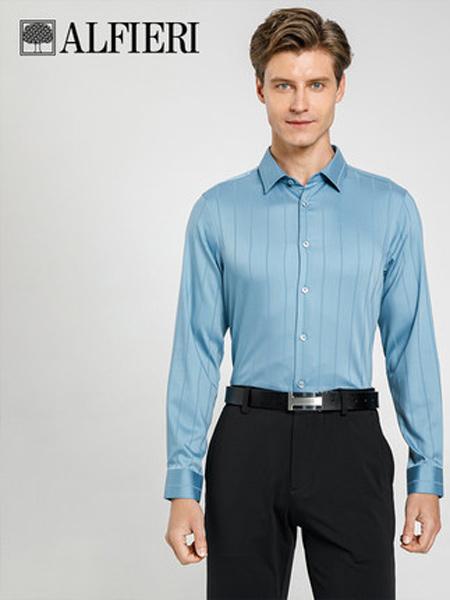 艾法利男装品牌2021春夏 男士休闲竖条纹衬衣微弹力 内搭