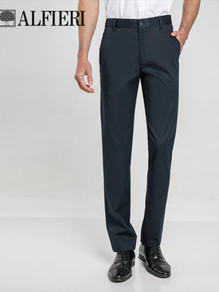 艾法利男装品牌2021春夏丝棉斜纹修身男士休闲长裤通勤上班直筒裤子