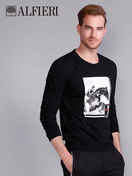 艾法利男装品牌2021春夏圆领大印花棉质时尚休闲修身长袖T恤