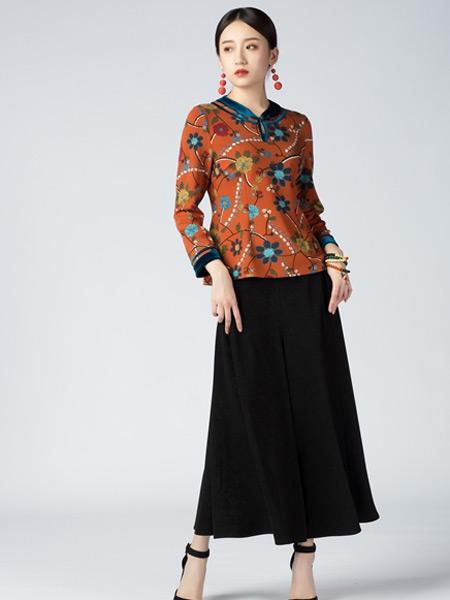 素罗依女装品牌2021秋季中国风印花刺绣长袖上衣
