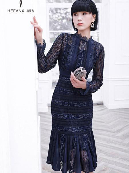 赫梵茜女装品牌彩38平台2021秋季黑色优雅礼服