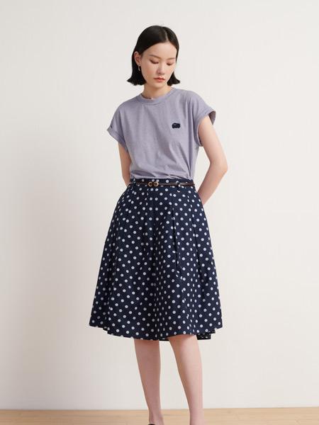 末未女裝品牌2021夏季波點系帶半身裙