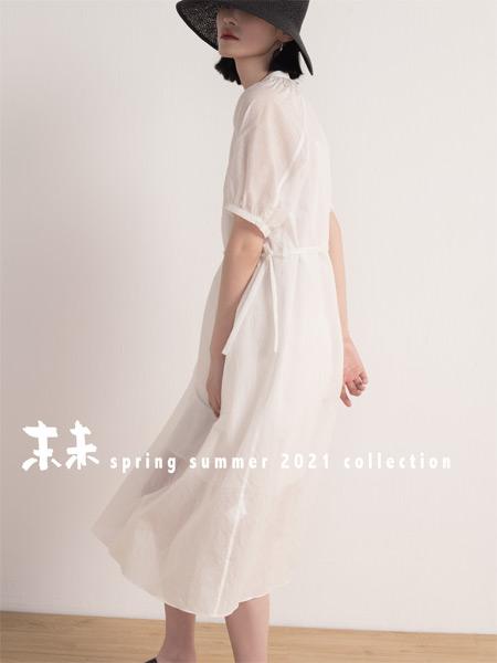 末未女装品牌2021夏季时尚系带薄款连衣裙
