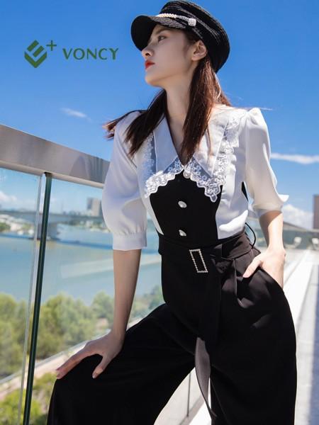 E+voncy女裝品牌2021秋季雪紡蕾絲刺繡襯衫套裝