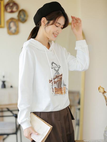 爱依莲女装品牌2021秋季刺绣印花卫衣