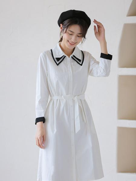 愛依蓮女裝品牌2021秋季雪紡系帶襯衫裙
