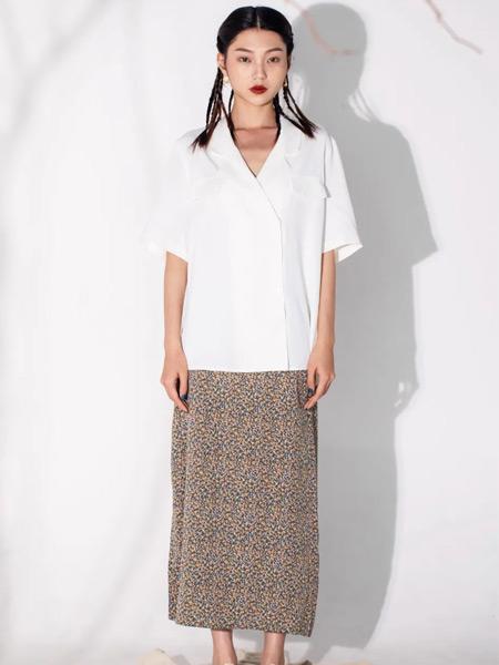 PASHOW女裝品牌2021夏季清透白襯衫碎花短裙套裝