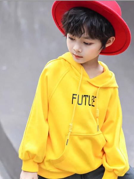 名書曼秀童裝品牌2021秋季黃色寬松衛衣